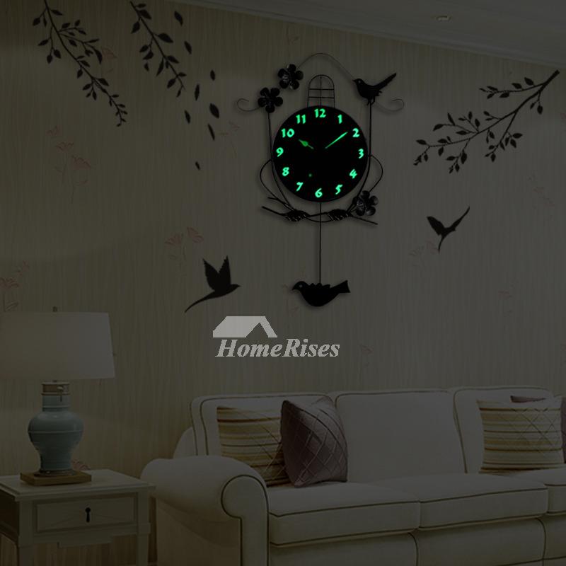 Decorative Wall Clocks Black Illuminated Pendulum Metal