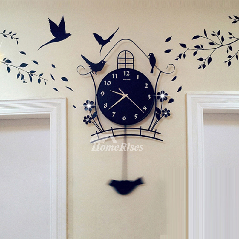 Decorative Wall Clocks Black Illuminated Pendulum Metal