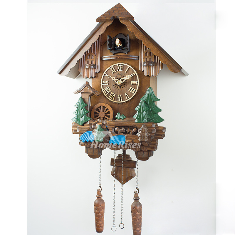 Outdoor Wall Clocks Hanging Cuckoo Telling Time Wood