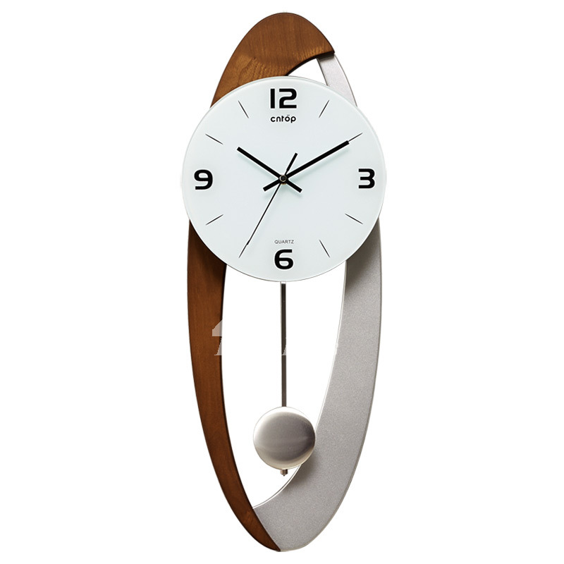 Modern wall clock pendulum carved hanging unique oval