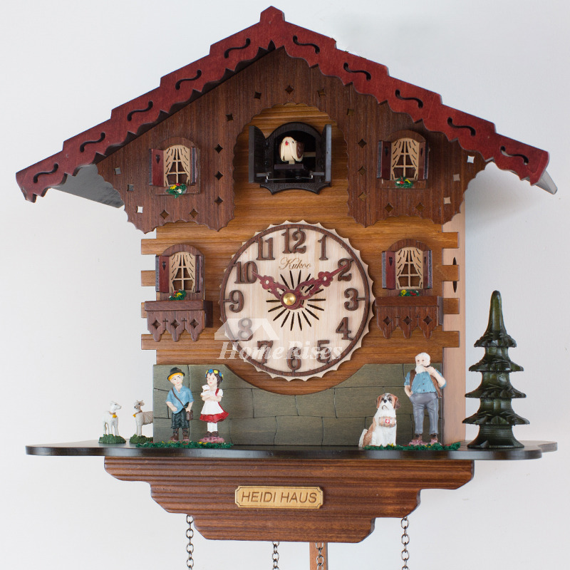 Wooden Wall Clock Carved Cuckoo Telling Time Vintage Unique Best