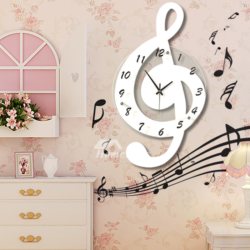 Musical Wall Clocks Decorative Personalized Glass Hanging Unique