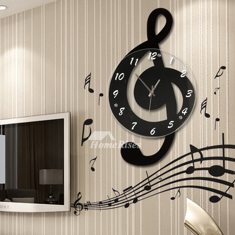 Contemporary Wall Clocks Musical Decorative Glass Art Decorative
