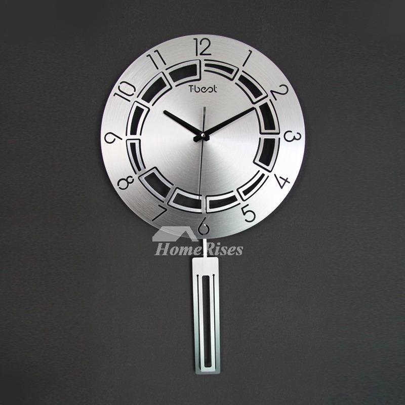 Stylish Aluminum Alloy Pendulum Wall Clock Art 15 Inch