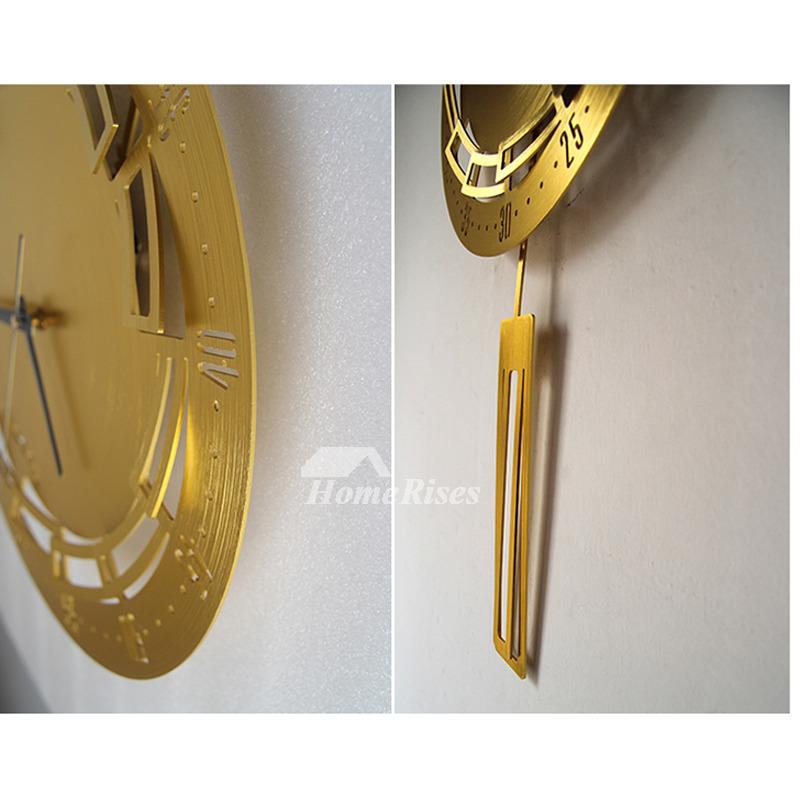 Stylish Aluminum Alloy Pendulum Wall Clock Art 15 Inch Width Hanging