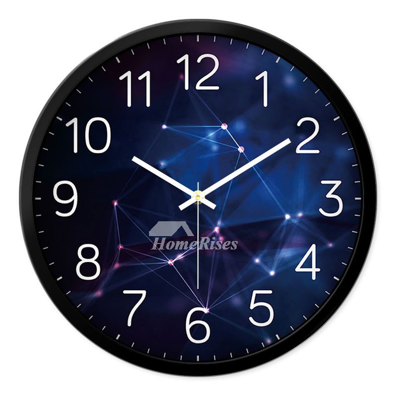 Round Wall Clock Metal Hanging 12 14 Inch Silent Personalized Modern