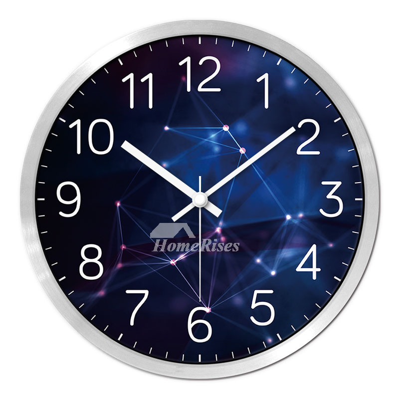 Round Wall Clock Metal Hanging 12 14 Inch Silent