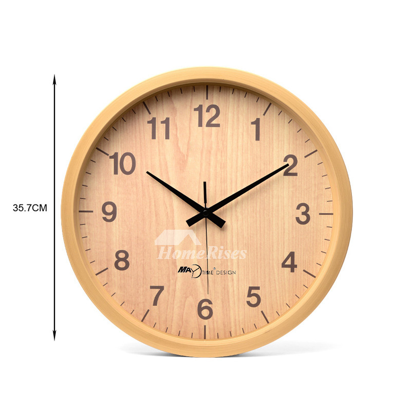 12 Inch Wall Clock 8 10 14 Round Wood Rustic Simple Silent Bedroom