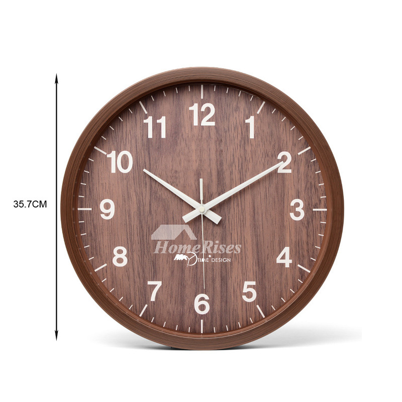 12 Inch Wall Clock 8 10 14 Round Wood Rustic Simple Silent