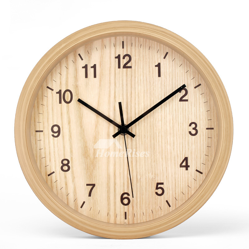 Wall Clock 10 Inch Wood Hanging Rustic Bedroom Cheap Office