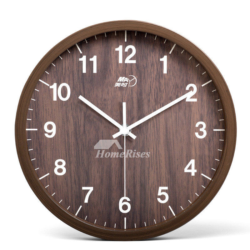Round Wall Clock 10 Inch Wood Hanging Rustic Bedroom Cheap