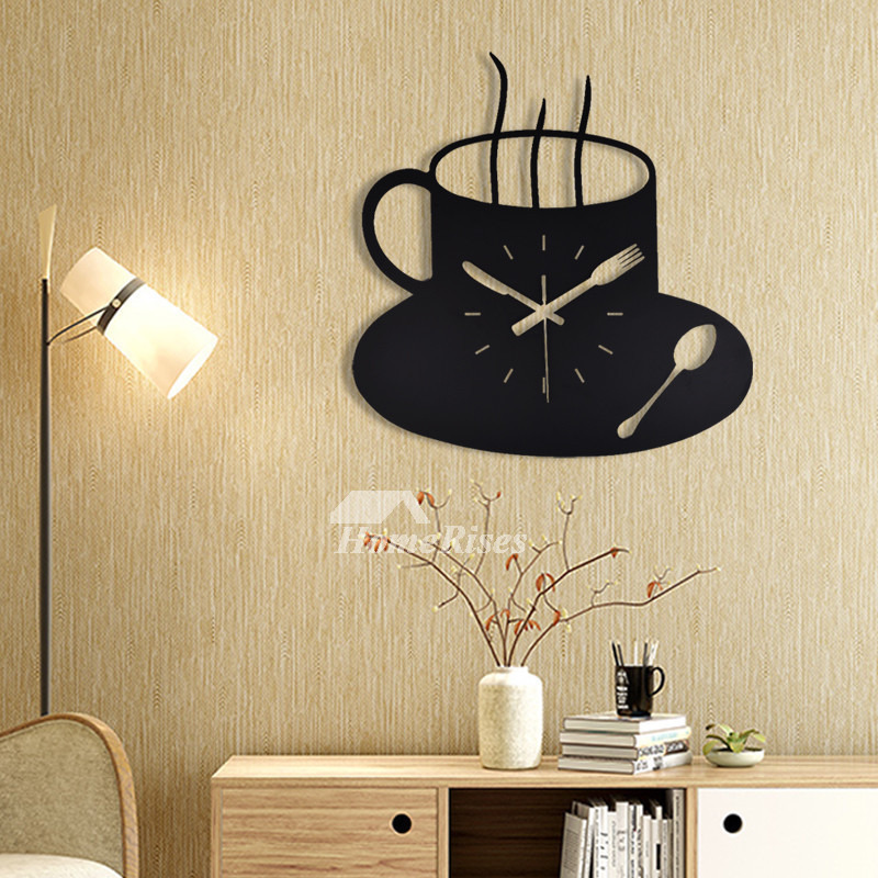 Wrought Iron Wall Clock Black Coffee Cup Hanging Funky Decorative