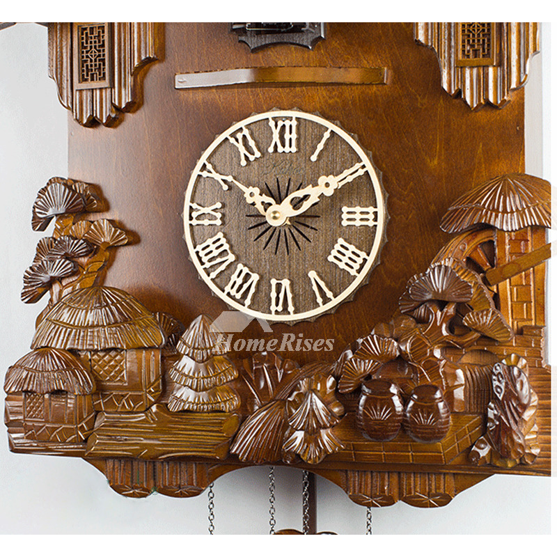 Novelty Wall Clocks Carved Wood Cuckoo Telling Time Wood