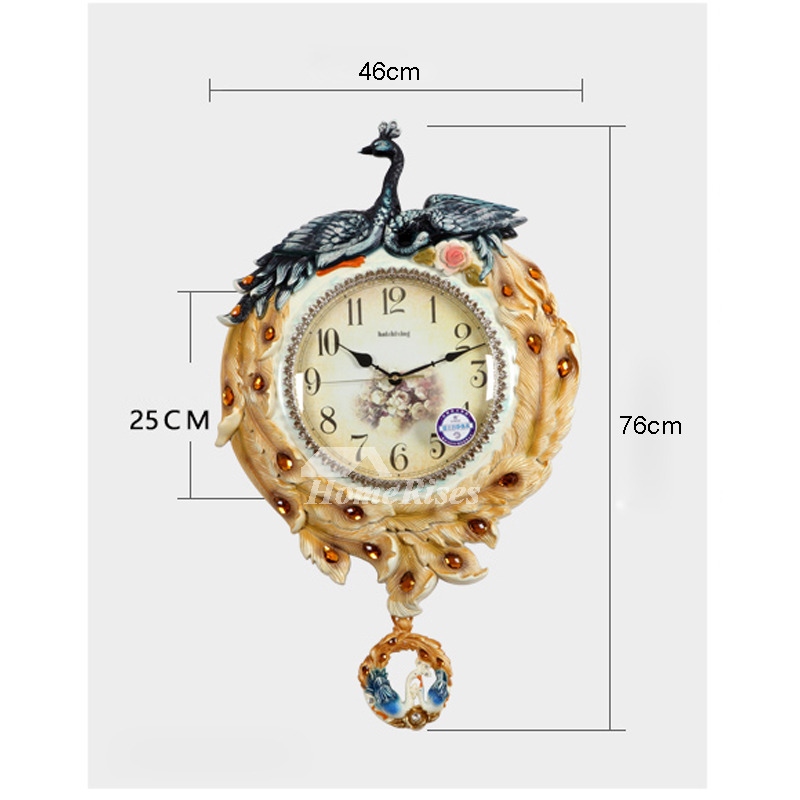 Best Wall Clocks Peacock PVC Decorative Vintage Bathroom ...