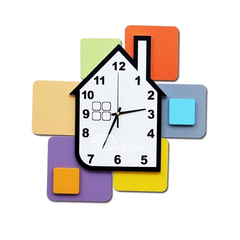 Decorative Wall Clocks Wooden House Funny Kitchen Kids Hanging