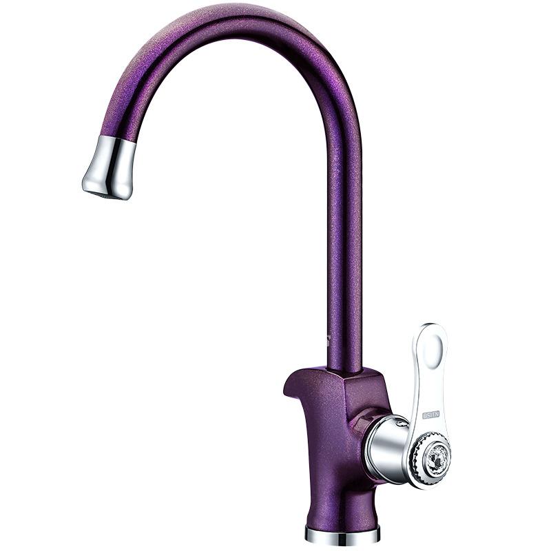 Brass Kitchen Faucet Gooseneck Purple Single Handle Vessel