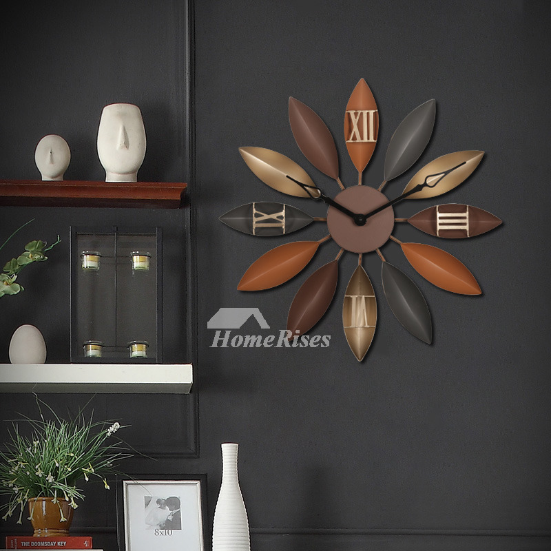 22 Inch Wrought Iron Leaf Decorative Bedroom Wall Clock