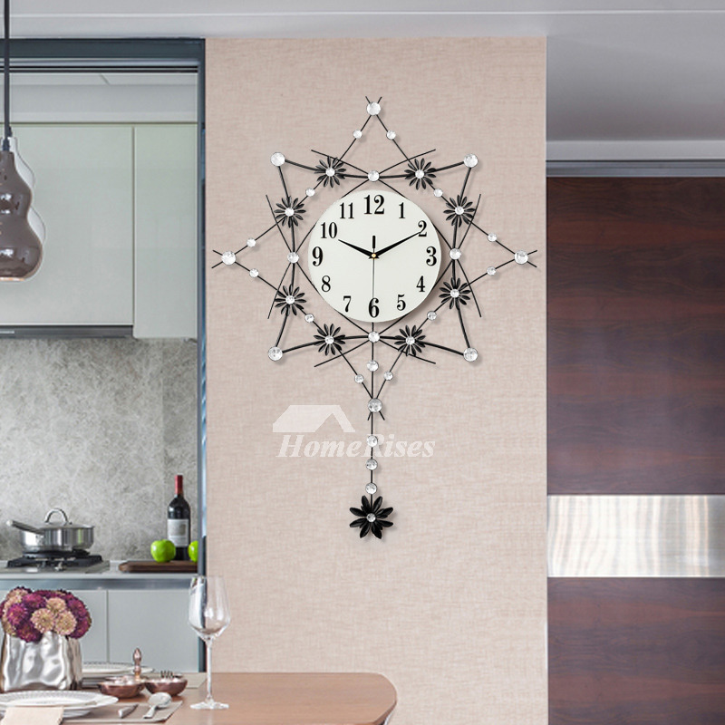 Clock On The Wall Leaf Silent Living Room Wrought Iron