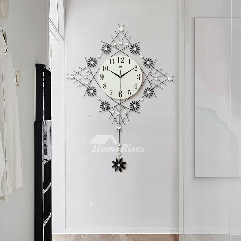 Clock On The Wall Leaf Silent Living Room Wrought Iron Twig Hanging