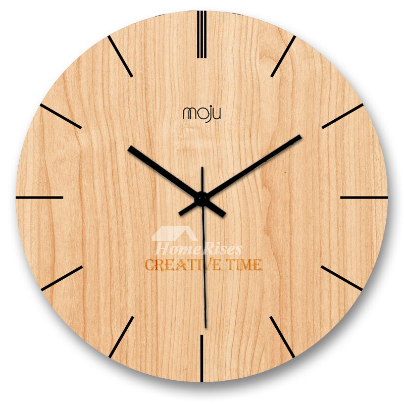 Country Wall Clocks Simple Round Unique Wooden Hanging Battery