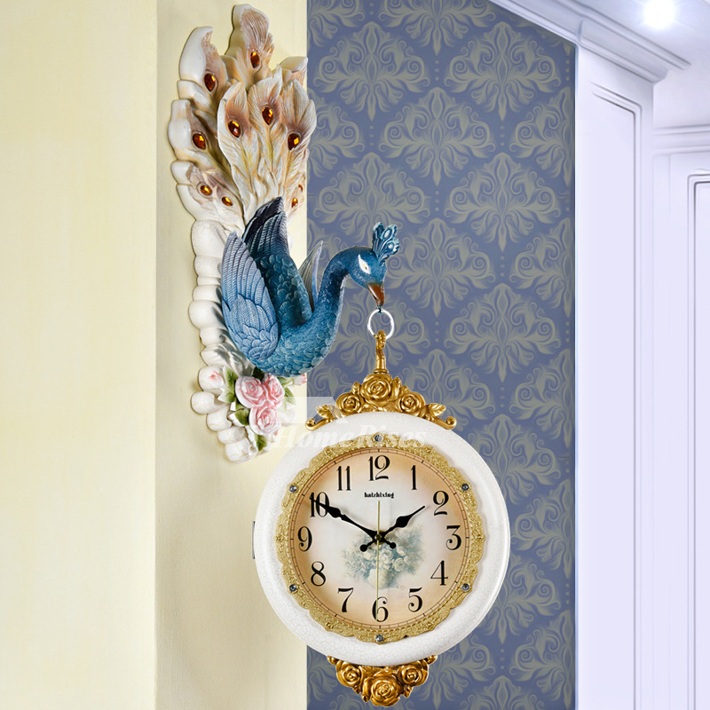 Wall Clock Design | Wall Clock Design Art Deco Peacock Double Sided Silent Hanging