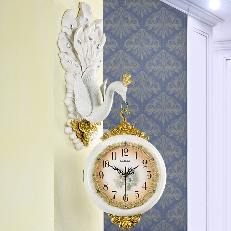 Wall Clock Design Art Deco Peacock Double Sided Silent Hanging