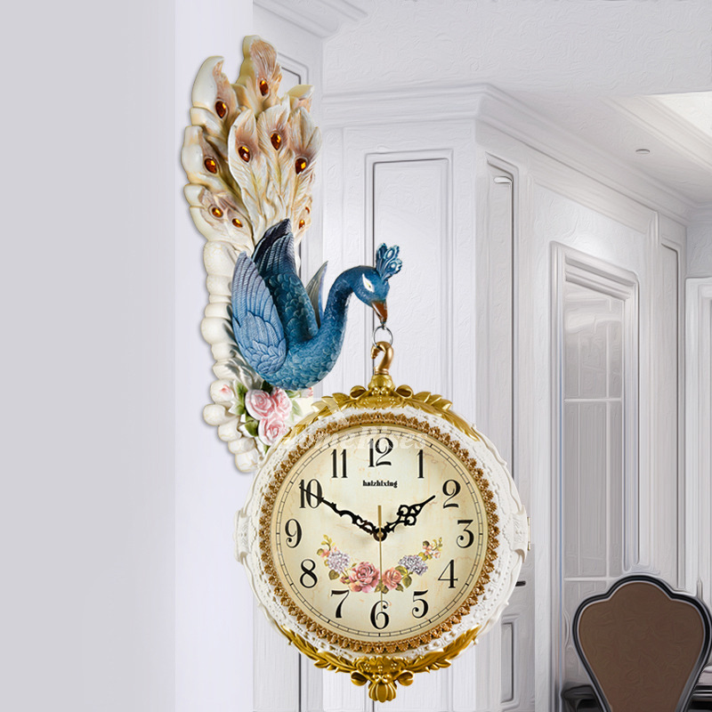 double sided wall clock carved peacock hanging plastic bedroom best - Bedroom Clock