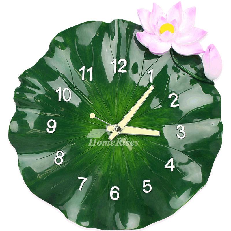 Decorative Wall Clocks Resin Hanging Lotus Green Botanical