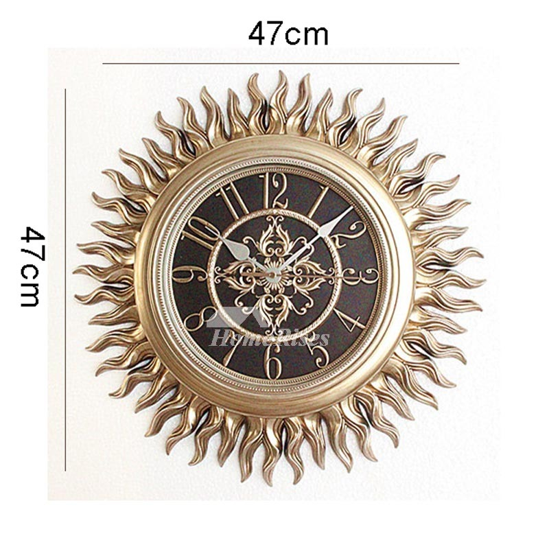 Unique Wall Clocks Sun Hanging Gold/Brown Silent Resin Retro For Sale