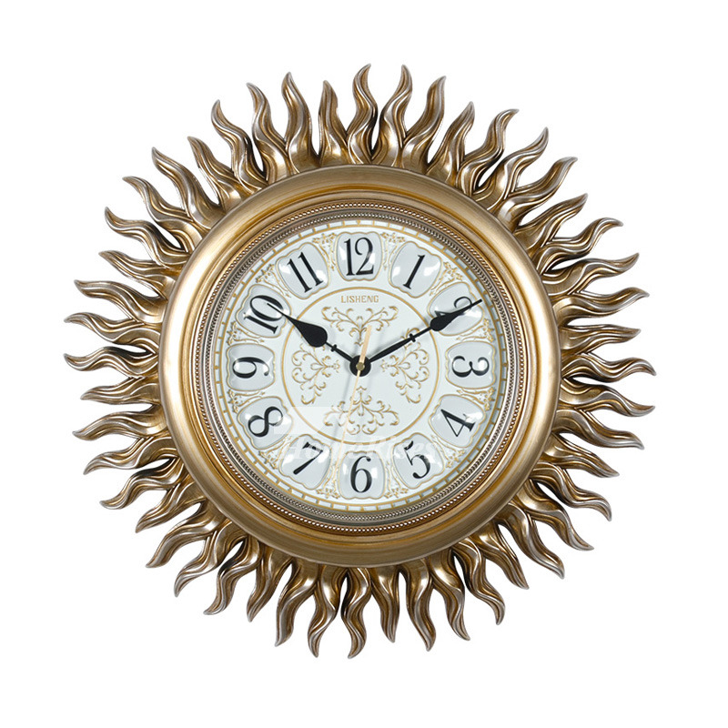 Unique Wall Clocks Sun Hanging Gold Brown Silent Resin