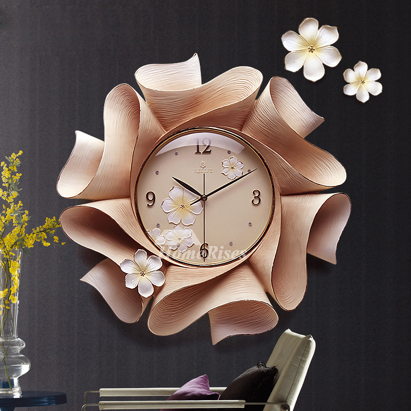 Floral Wall Clock Carved Botanical Decorative Hanging