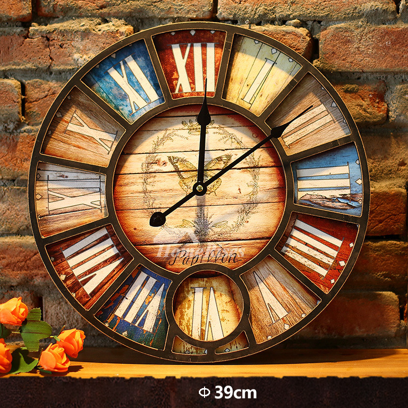 Wooden Wall Clock 16 Inch Outdoor Decorative Kitchen