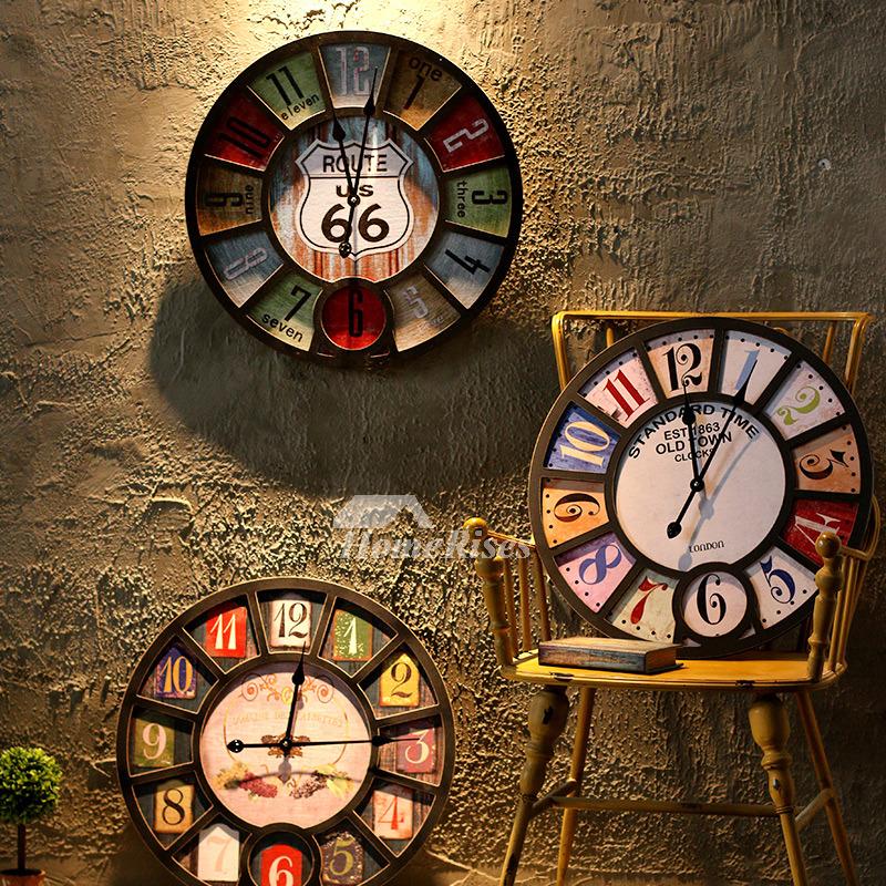 Wooden Wall Clock 16 Inch Outdoor Decorative Kitchen Silent Bedroom