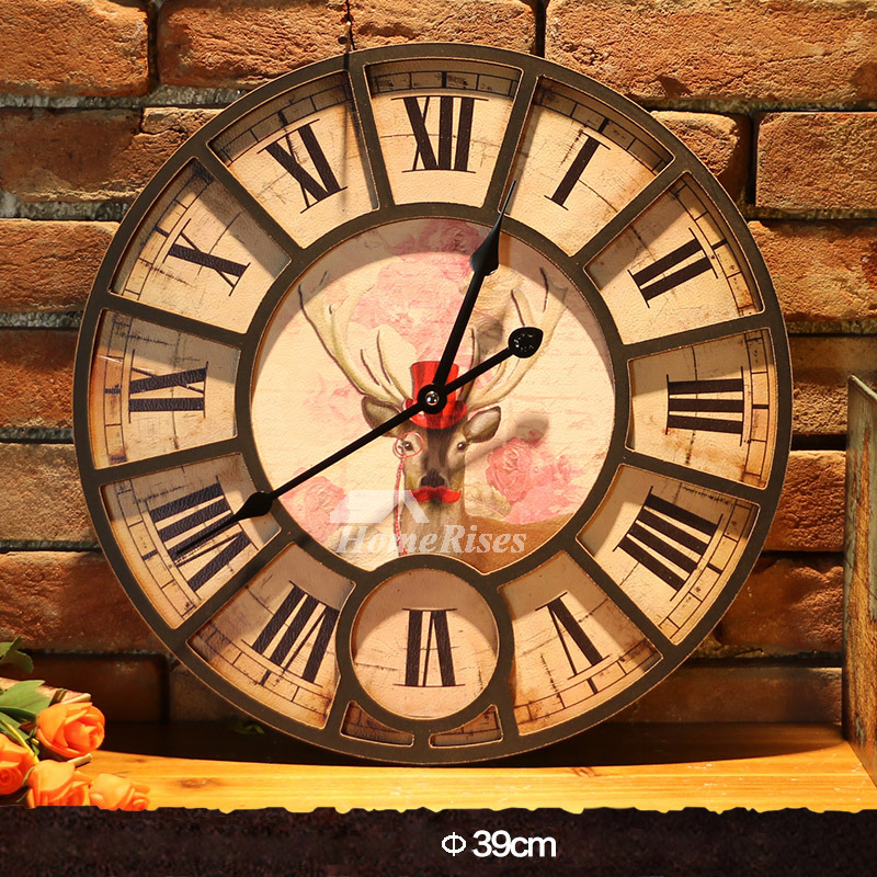 Wall Clock Kits Round 15 23 Inch Wooden Classic Stylish Living Room