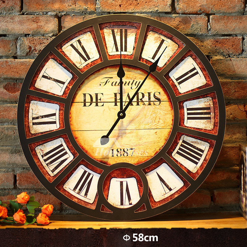Stylish Wall Clock 23 Inch Wooden Round Entryway Hanging