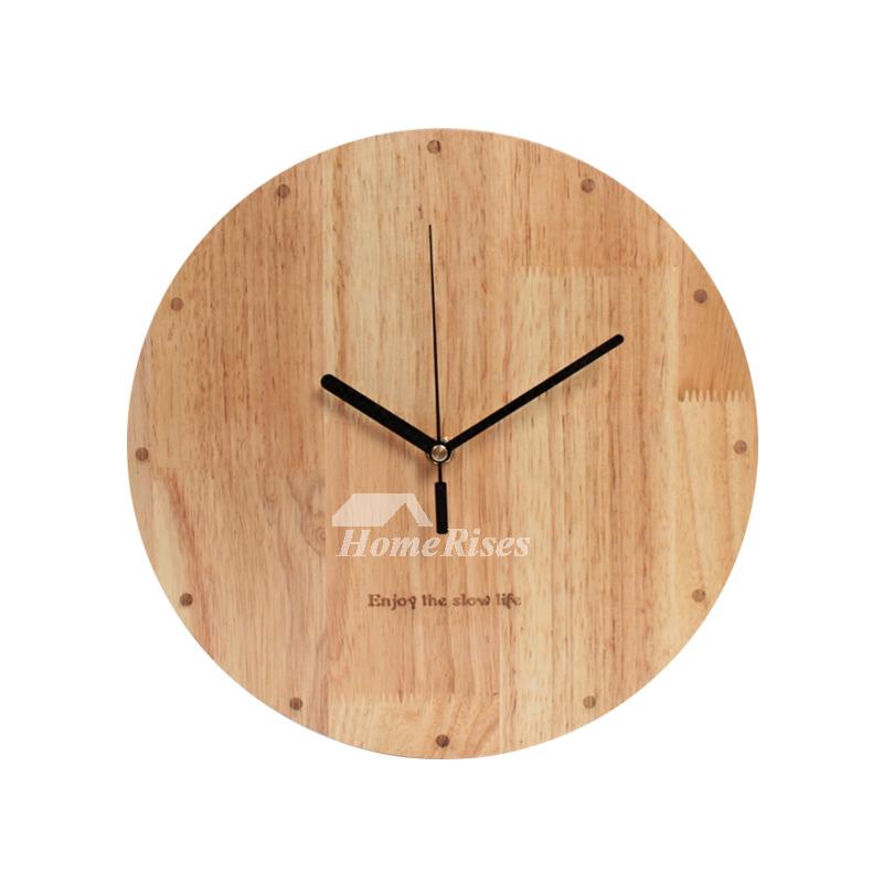 Wooden Wall Clock 12 Inch Round Hanging Rustic Bedroom Unique
