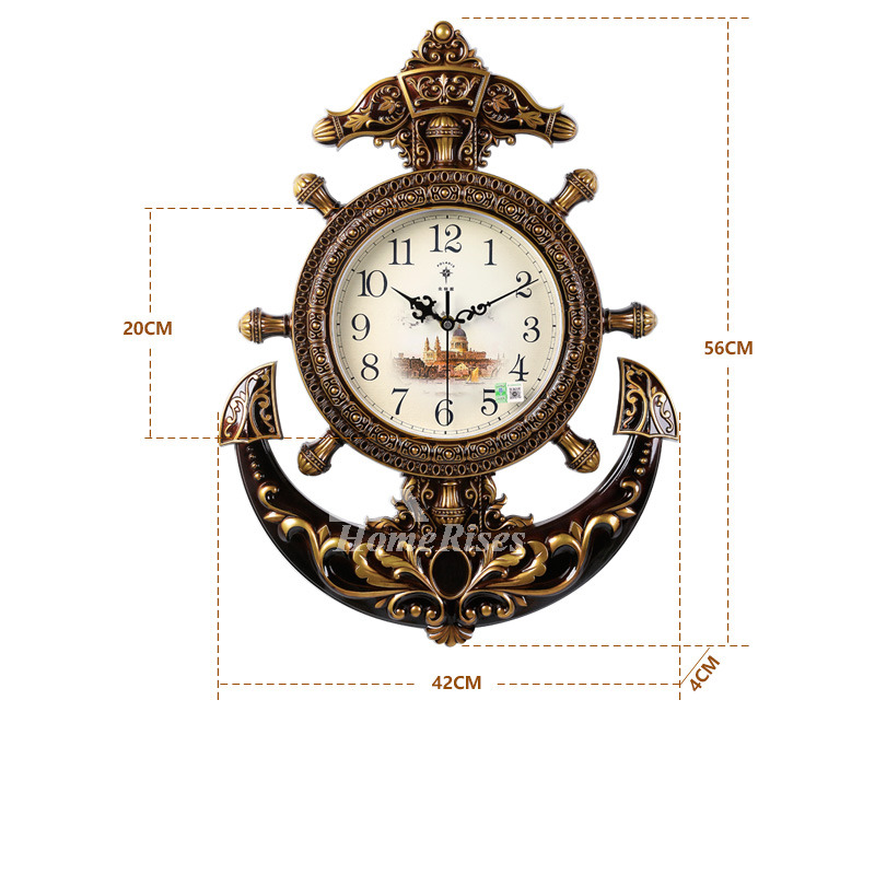 Nautical Wall Clock Hanging Plastic Battery Operated Brownwhite