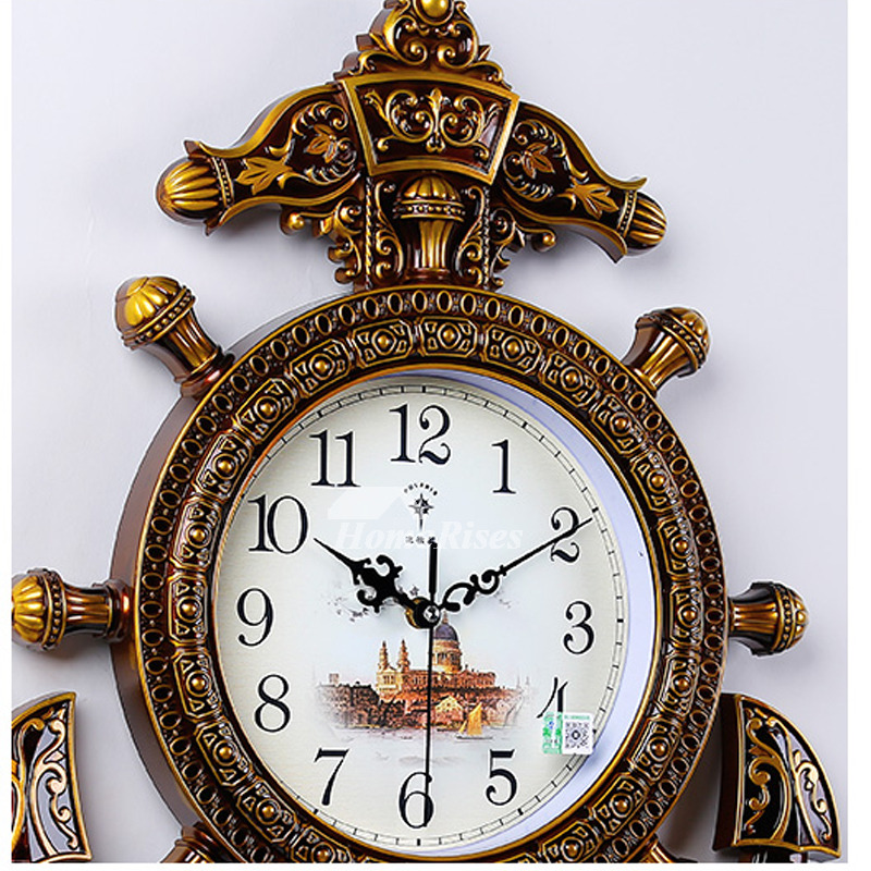 Nautical Wall Clock Hanging Plastic Battery Operated Brown