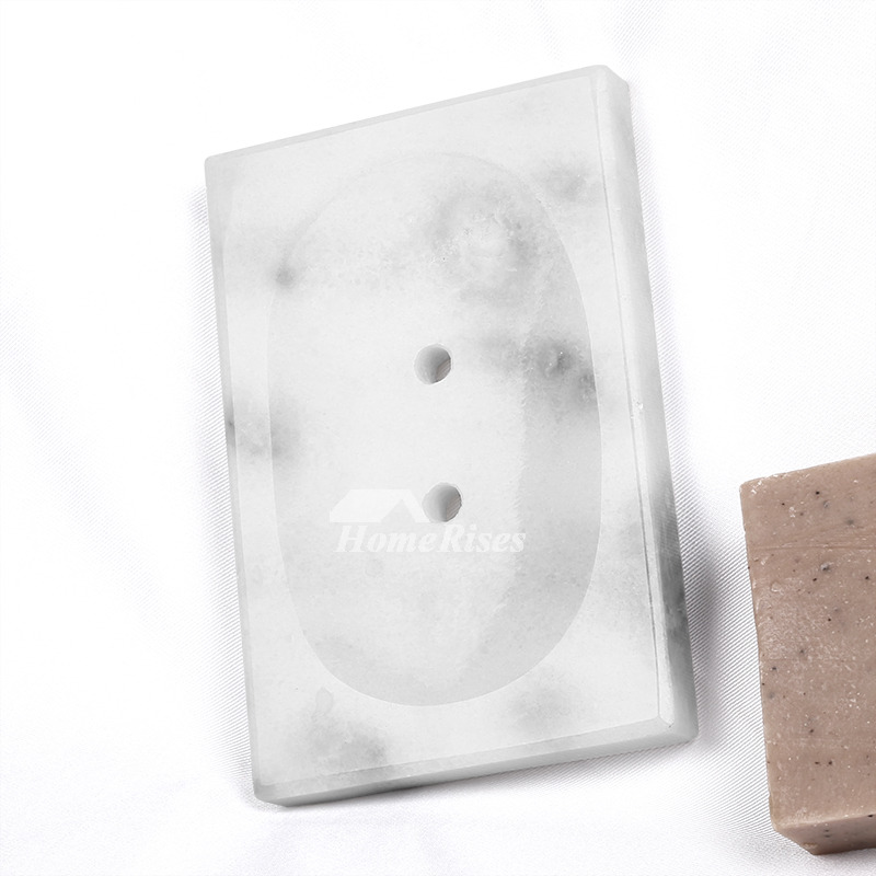 Shower Soap Dish Marble Modern Graywhite Rectangular Standing