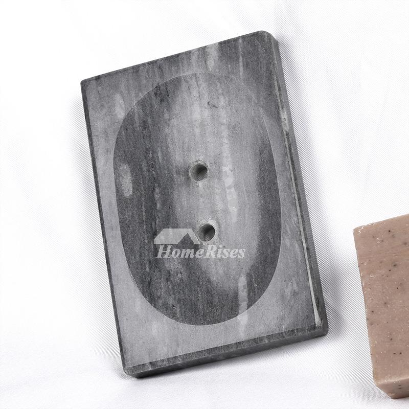 Shower Soap Dish Marble Modern Gray White Rectangular Standing