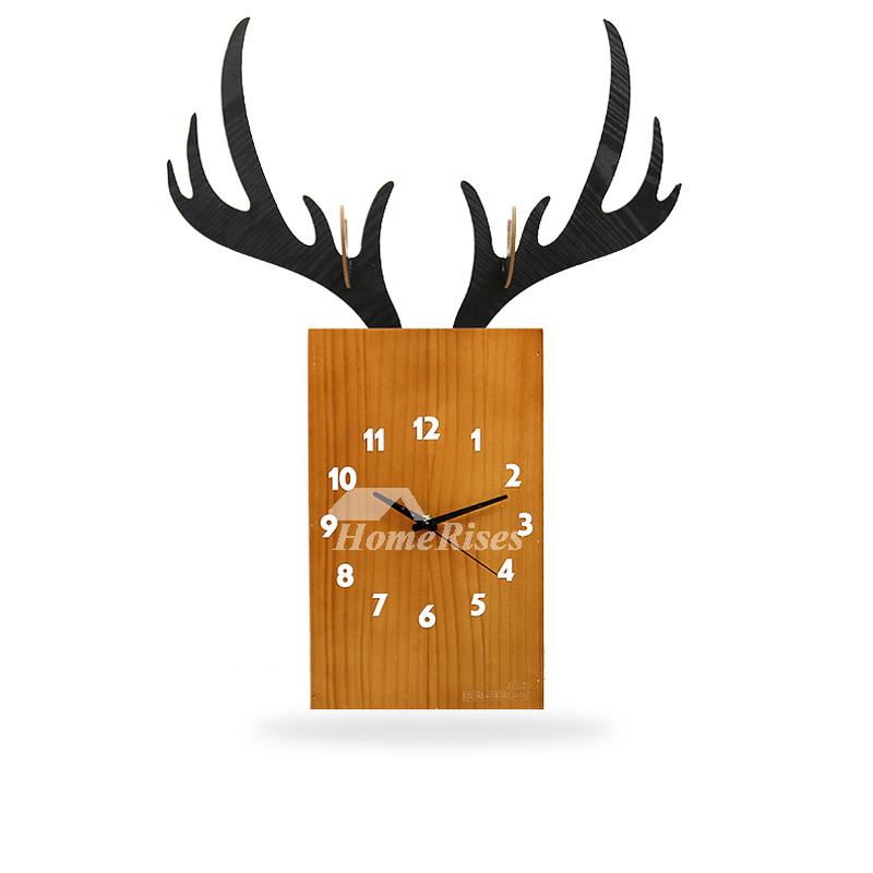 Wooden Wall Clock Antler Vintage Cool Novelty Hanging Modern