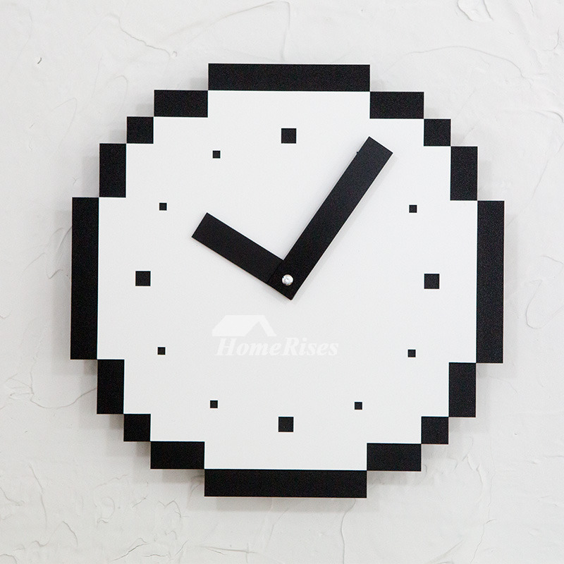Designer Pixel White Acrylic Unusual Wall Clocks Silent