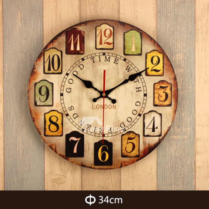 Contemporary Wall Clocks Round 13.5 Inch Wood Carved Decorative