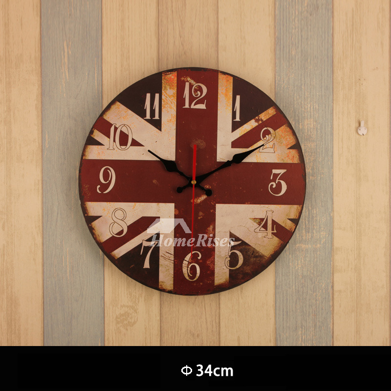 Wall Clock Round 13.5 Inch Bathroom Design Living Room Personalized