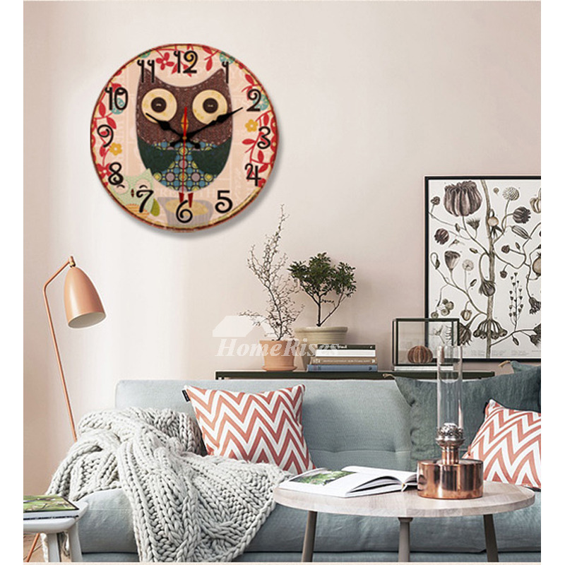Living Room For Sale: Bathroom Wall Clocks 13.5 Inch Wooden Round Rustic Living