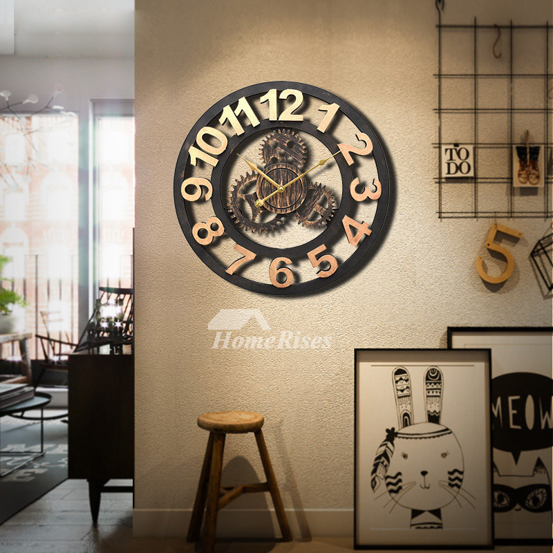 Wall Clock Round 20/16 Inch Industrial Decorative Wooden Painting