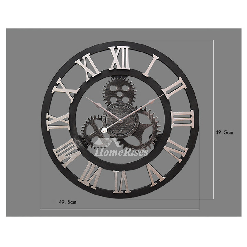 Gear Wall Clock Round 20 16 Inch Industrial Decorative