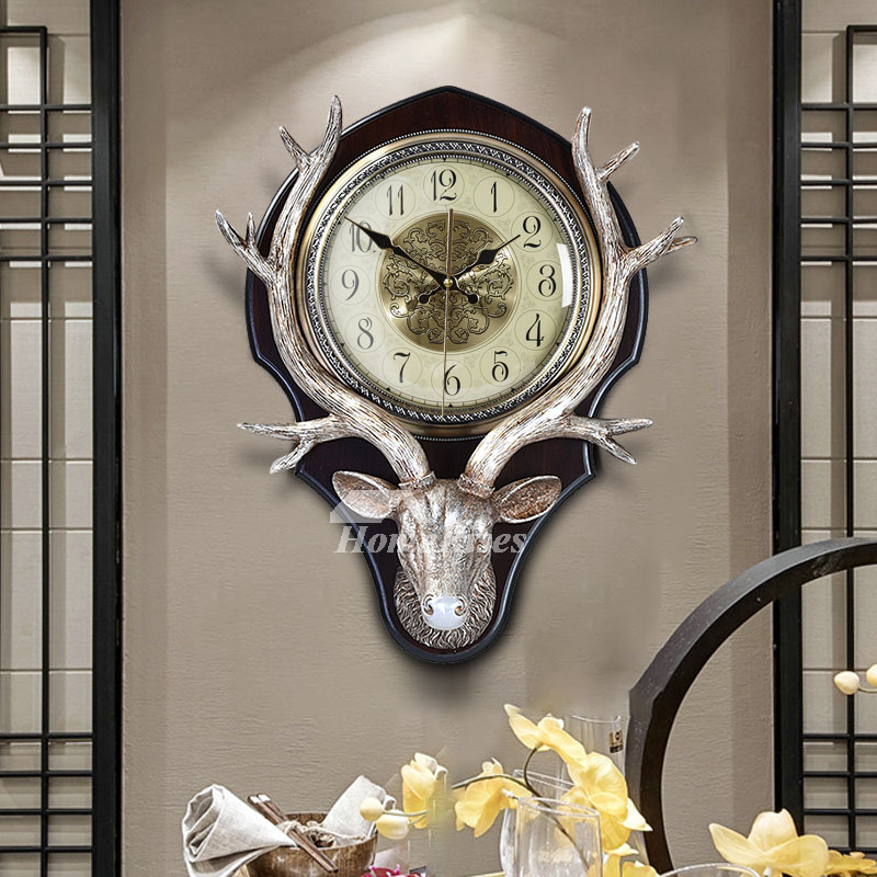 Art Deco Wall Clock Antler Decorative Silent Hanging Resin