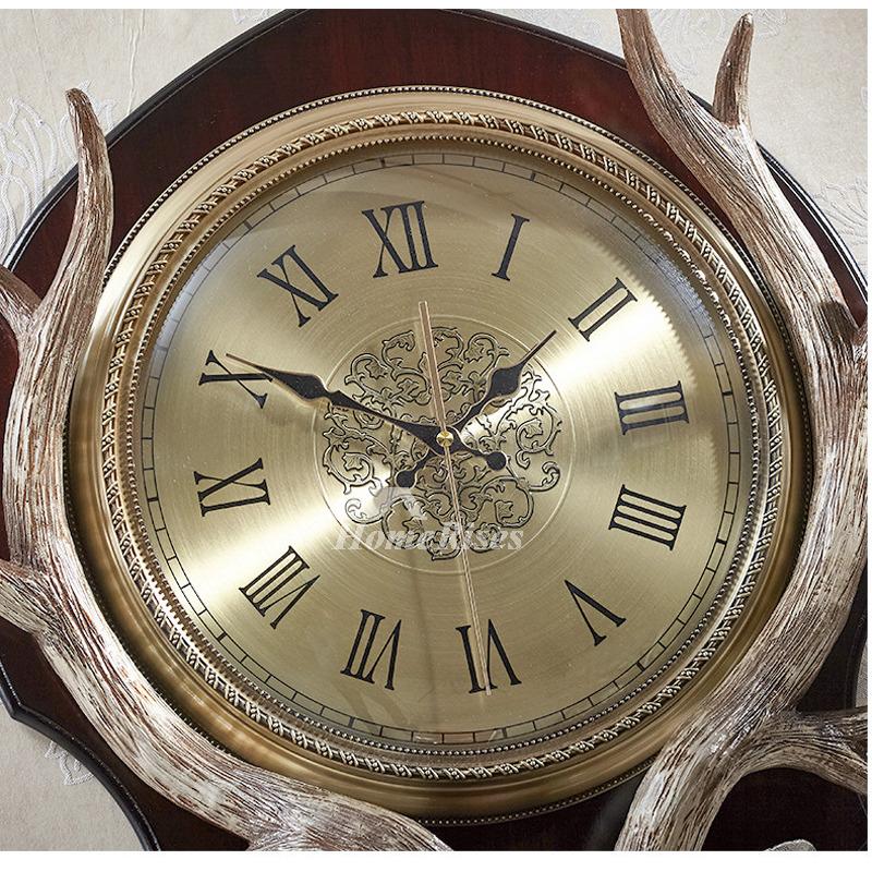 Art Deco Wall Clock Antler Decorative Silent Hanging Resin