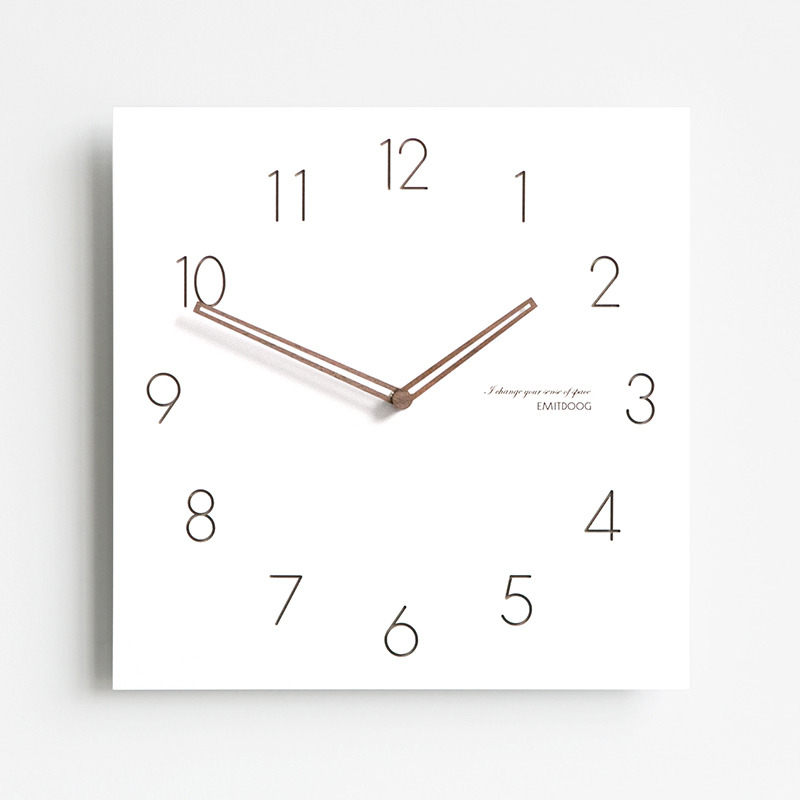 Square Wall Clock White Wooden Contemporary Living Room Silent Hanging